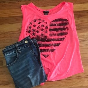Pink American Flag Tie-Front Tank Top Size Medium